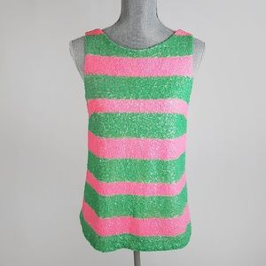 Lilly Pulitzer Sequin Green Pink Tank Top XS